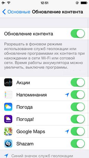 Отключение обновления приложений в фоновом режиме в iOS 7