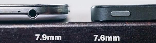 Толщина iPhone 5S и Samsung Galaxy S4
