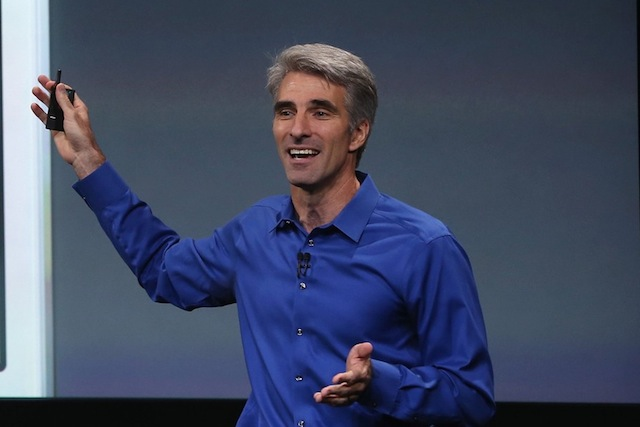 CUPERTINO, CA - SEPTEMBER 10:  Apple Senior Vice President of Software Engineering Craig Federighi speaks about iOS 7 on stage during an Apple product announcement at the Apple campus on September 10, 2013 in Cupertino, California. The company is expected to launch at least one new iPhone model.  (Photo by Justin Sullivan/Getty Images)