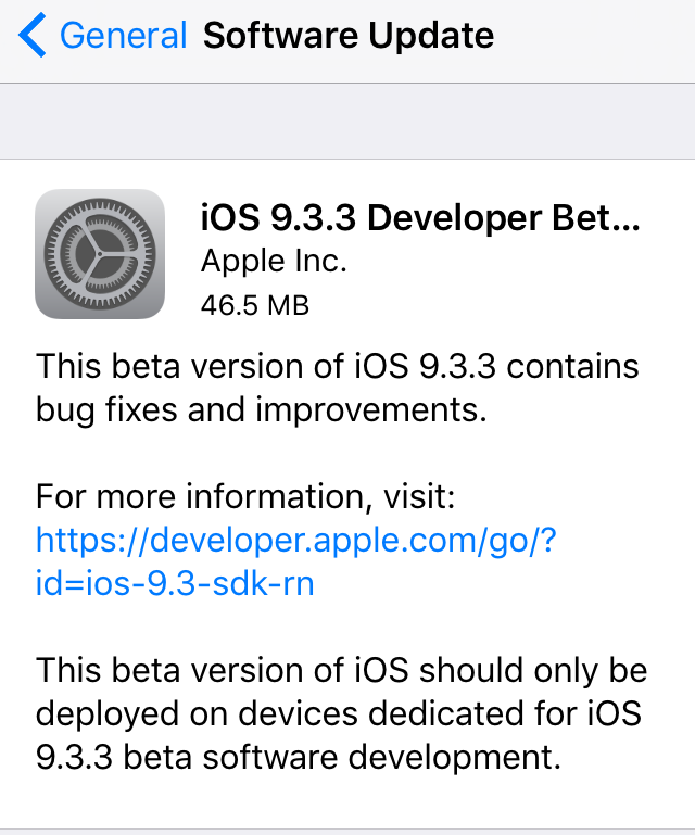 Apple выпустила вторую бета-версию iOS 9.3.3